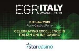 EGR Awards Italia premia StarCasinò come Miglior Casinò Online dell'anno 2019